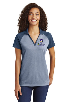 Womens RacerMesh® Raglan Heather Block Polo LST641 - Embroidered (4 Logo Op