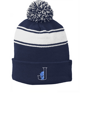 Pom Pom Stocking Cap with Embroidered Logo (2 Color Choices)