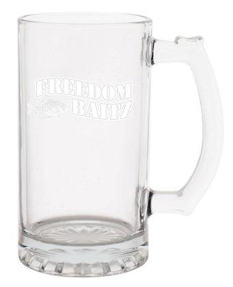 Glass Beer Mug - Laser Etched w/Freedom Baitz Logo