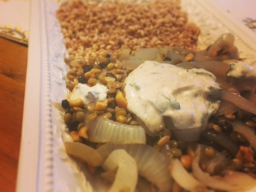 Mujaddara with Currants, Peanuts & Spicy Yogurt Sauce