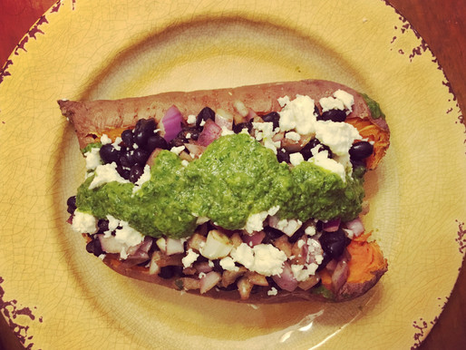"""TexMex Stuffed Sweet Potatoes with Avocado Sauce, and a note on """"plant-forward"""" eating"""
