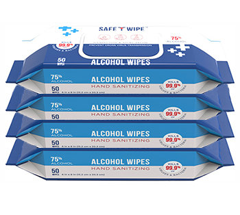 Alcohol Wet Wipe 4 pack - 50 wipes per pack - select quantity