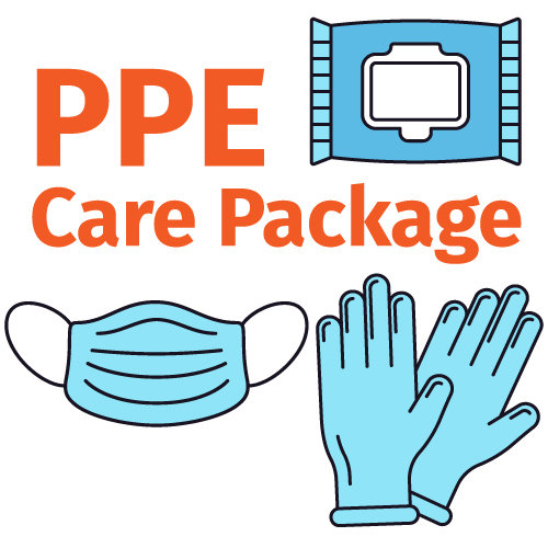 PPE Care Package - Masks, Gloves and Sanitizing Wipes -Select glove size