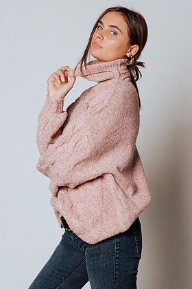 Twig Cable Knit Turtleneck Sweater