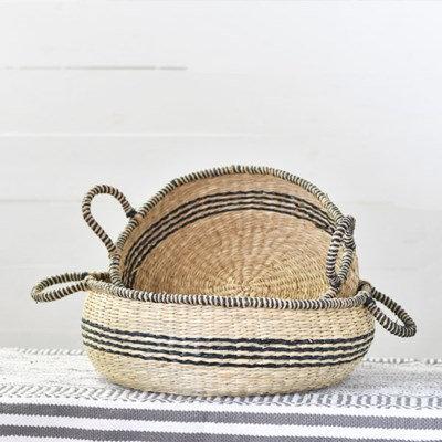 PREORDER-Set of 2 Black Striped Baskets