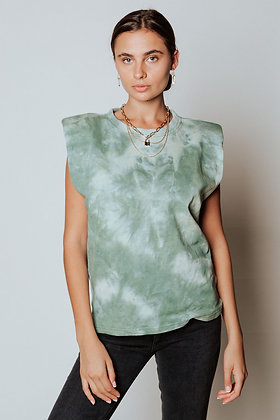 Sage Tie Dye Strong Shoulder Top