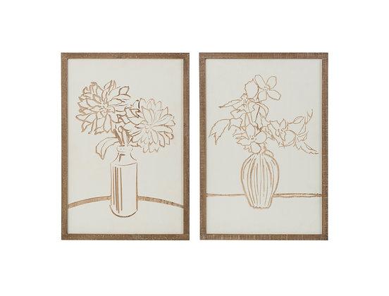 Flora Wood Carved Art