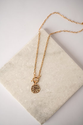 Dainty Chain Toggle Clasp Coin Necklace