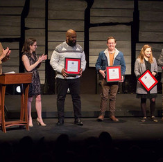 Executive Director, David Bar Katz, Director of Creative Development, Laura Ramadei, present to Select Semifinalist Playwrights: Tearrance Chisholm and Matthew Stephen Smith; and Finalist Playwrights Liza Birkenmeier and Jake Jeppson