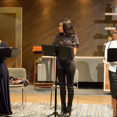 An excerpt reading of the winning play Is God Is, directed by Taibi Magar (not pictured), featuring (L to R) Jessica Frances Dukes, Jasmine Hughes and Maechi Aharanwa.