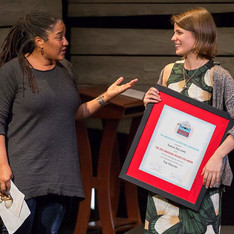 Pulitzer Prize winner and Relentless Judge Lynn Nottage presents Sarah DeLappe with the 2015 Relentless Award for her script, The Wolves
