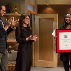 Executive Director David Bar Katz, Director of Creative Development Laura Ramadei, and the 2016 Relentless Award-Winner, Aleshea Harris (for her play 'Is God Is').