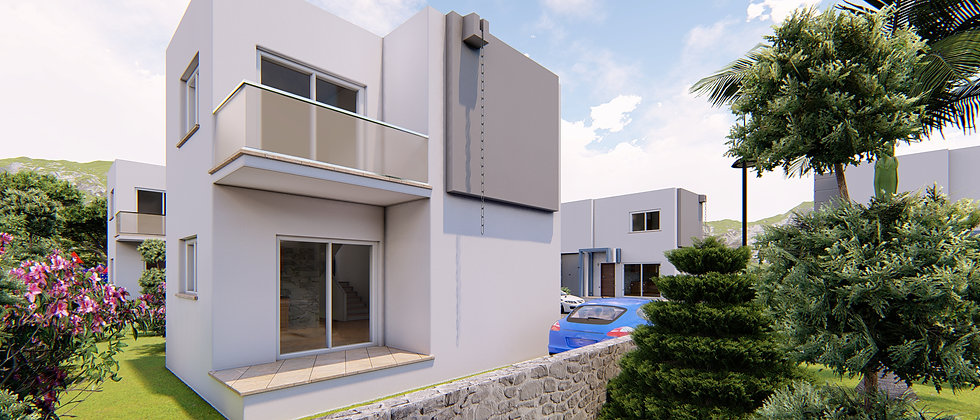18 Villas with two floors, space area 90 m2, two bedrooms located in Kumyali.