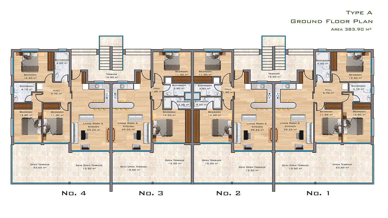Ground Floor Plan:  Type A