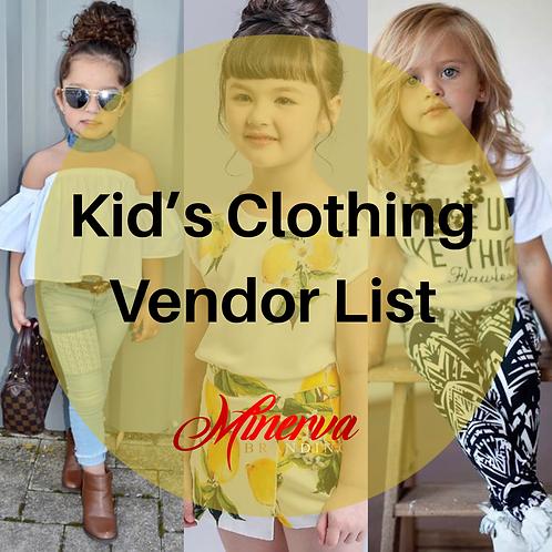 Kid's Clothing Wholesale List