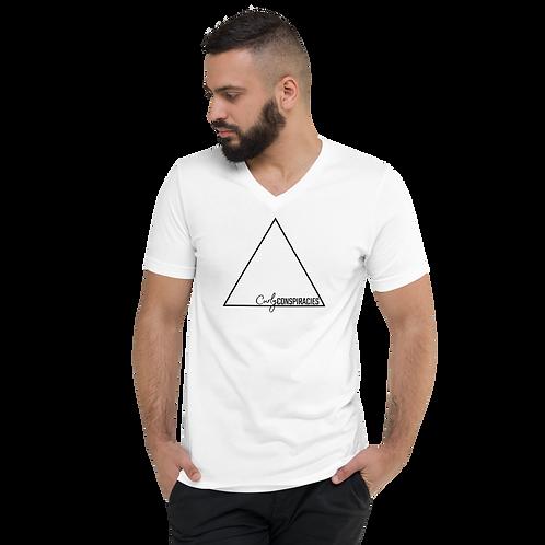 Unisex V-Neck Triangle Logo Tee (White)