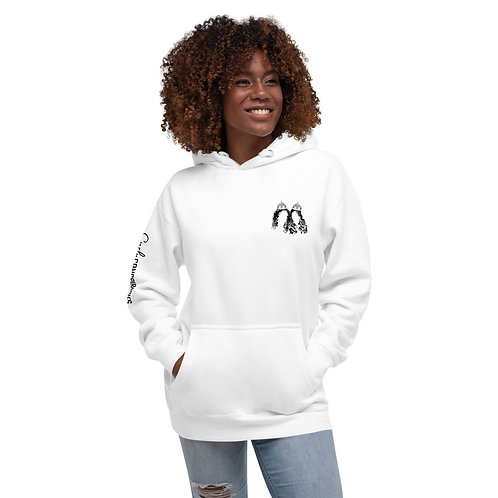 Unisex Curly Conspiracies Logo Hoodie (White)