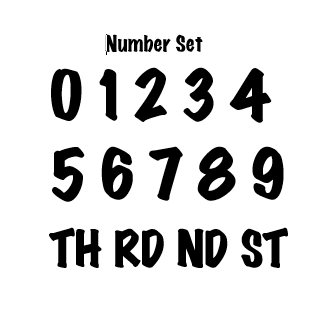 Black Number Set -0 through 9 with TH, ST, ND, RD
