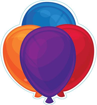 Balloon Cluster: Purple, Blue, Orange, Red