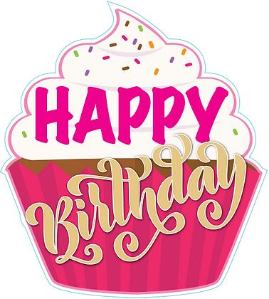 Birthday Cupcake - Pink & Gold