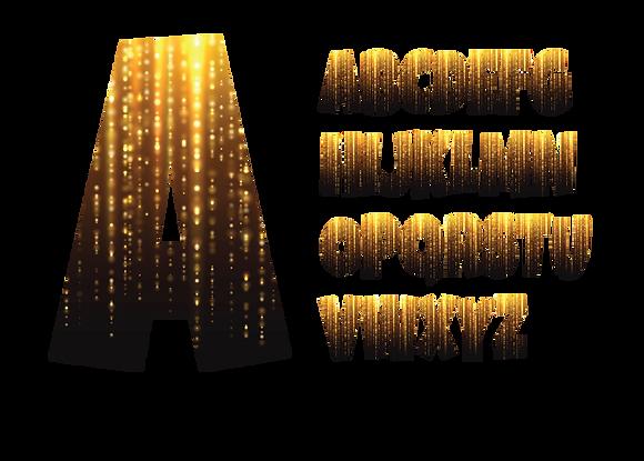 Alphabet - Black & Gold Drizzle