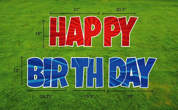 "HAPPY BIRTHDAY 18"" 5pcEZ Set  - Blue & Red"