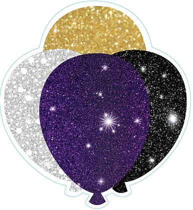 Balloon Cluster: Black, Purple, White, Gold