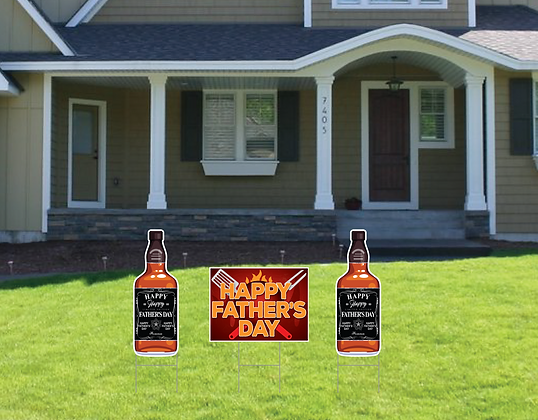 Yard Sign Trio, Fathers Day - Whiskey or Beer + 18x24