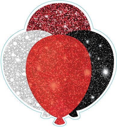 Balloon Cluster: Red, Black, White