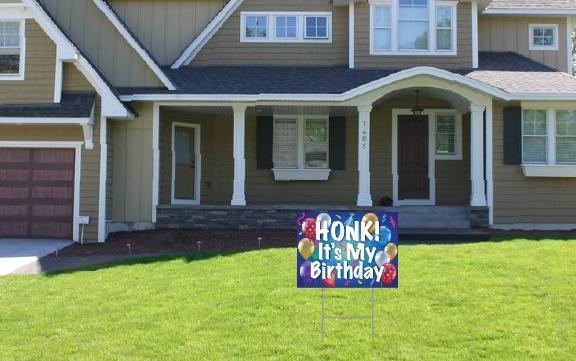 Happy Birthday Yard Sign - HONK