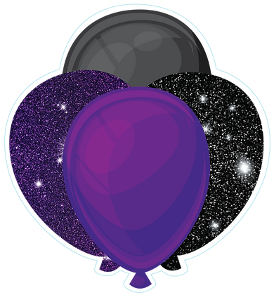 Balloon Cluster: Black & Purple