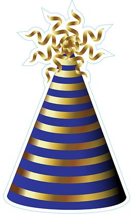 Party Hat: Blue & Gold