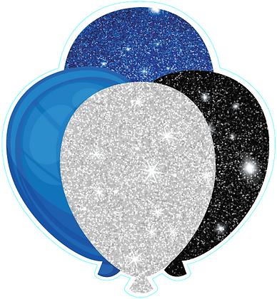 Balloon Cluster: Black, Blue, White