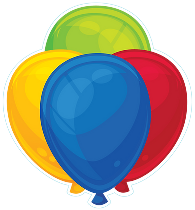 Balloon Cluster: Blue, Red, Yellow, Green