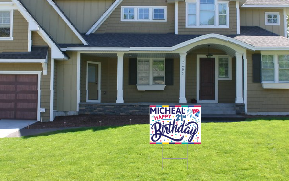 Happy Birthday Yard Sign - Red Personalized
