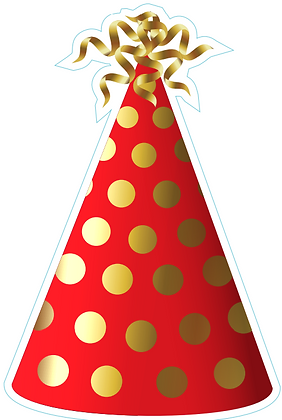 Party Hat: Red & Gold