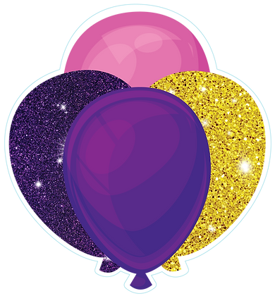 Balloon Cluster: Pink, Purple, Gold