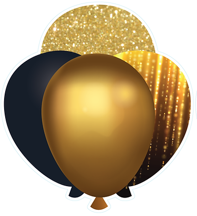 Balloon Cluster: Black & Gold Drizzle