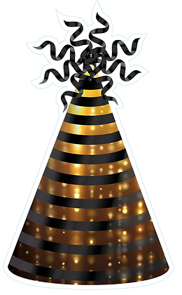 Party Hat: Black & Gold Drizzle