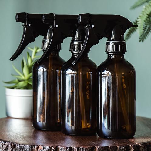 3 Amber Glass Spray Bottles