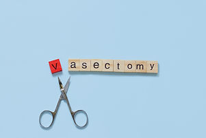 Vasectomy concept: the word vasectomy ma