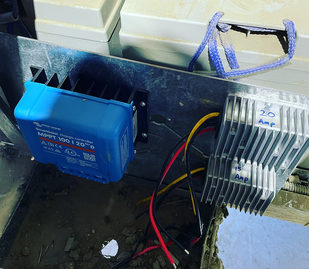 Inverters mounted under the seat of our golf cart