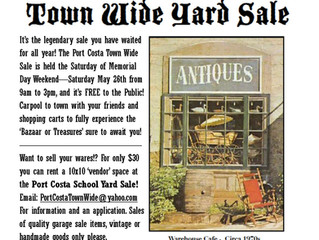 May 26, 2018 Annual Town Wide Port Costa Yard Sale 9am-3pm