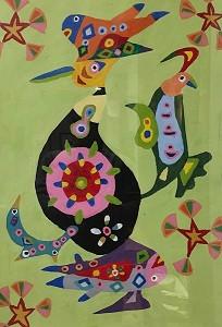 辰鳥魚アラジン  538×380 オイルパステル・紙