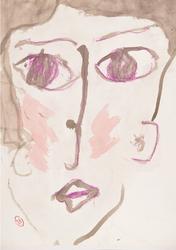 夏に生まれた女の人  540×390 顔彩・コンテパステル・和紙