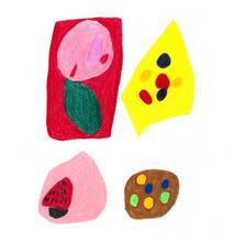 くず桜の茶きん絞り・まめまめ蒸しケーキ・ごまあんの羽二重・マーブルクッキー  318×321 色鉛筆・紙