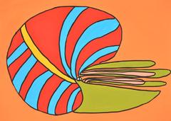 アンモナイト  333×455 アクリル・顔料マーカー・紙・パネル