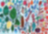 青木優、はっぱ えだまめ さくらんぼ ぶどう、アクリル・顔料マーカー・紙・400