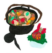 ソーセージや鶏のもも、トマト、ズッキーニ、人参などの入った実沢山のスープ・すいか  227×227 色鉛筆・紙・パネル