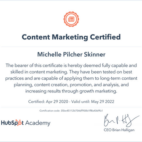 Michelle Skinner Content Marketing Certi